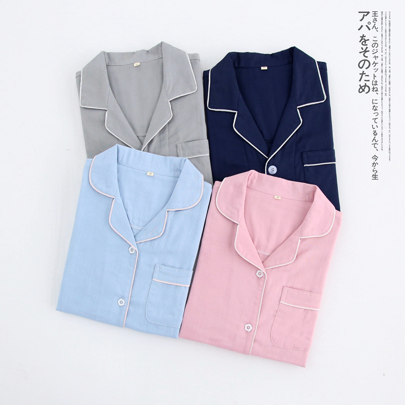 QWEEK Cotton Couple   Pajama     Sets   Fashion Women Sleepwear Solid Color Pyjamas Women Female Suit Autumn Spring Thin Home Wear