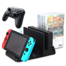 Multi-Function Dual Charging Stand+6 pcs Game Card Box Storage Bracket+Console Holder for Nintend Switch Pro Contorller Joy-con