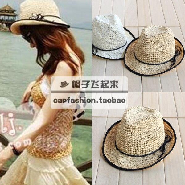 Nonrigid bohemia bow black strawhat hat sunbonnet sun hat summer