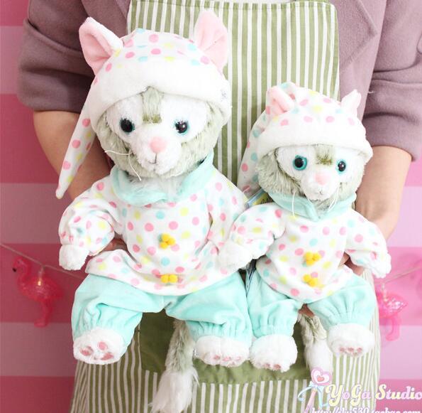candice guo! cute plush toy cartoon duffy friends gelatoni lovely spotty pajamas cat stuffed doll birthday Christmas gift 1pc