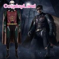 Титаны Дик Грейсон Робин, Косплей Костюм Хэллоуин косплэй DC Nightwing наряд супергероя маскарадный костюм взрослых для мужчин с маской