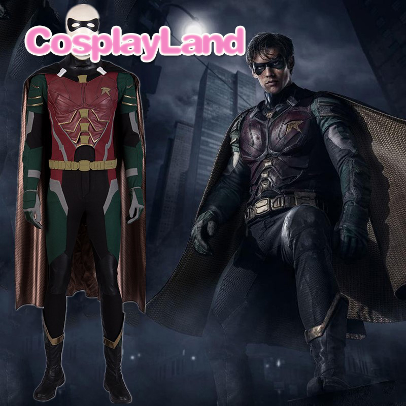 Titans Dick Grayson Robin Cosplay Costume Halloween Cosplay DC Nightwing tenue super-héros fantaisie Costumes adultes hommes avec masque