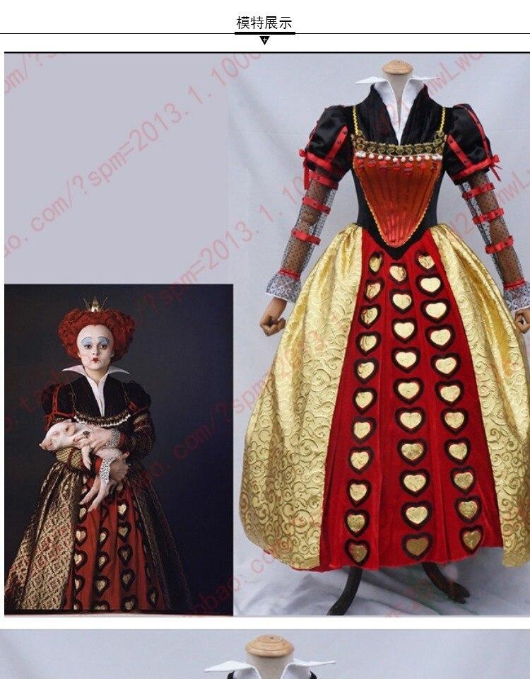 Hot Movie Alice in Wonderland cosplay Red Queen of Hearts Fancy Dress Halloween Cosplay Custom