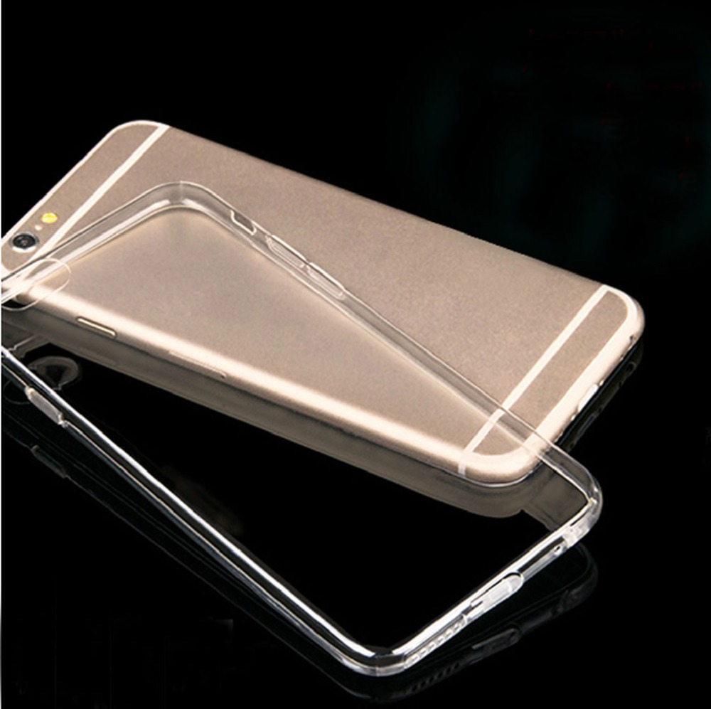 ФОТО 100pcs Soft Silicone Case Crystal Clear Transparent Cover Skin Hard Case For iPhone 6 Plus