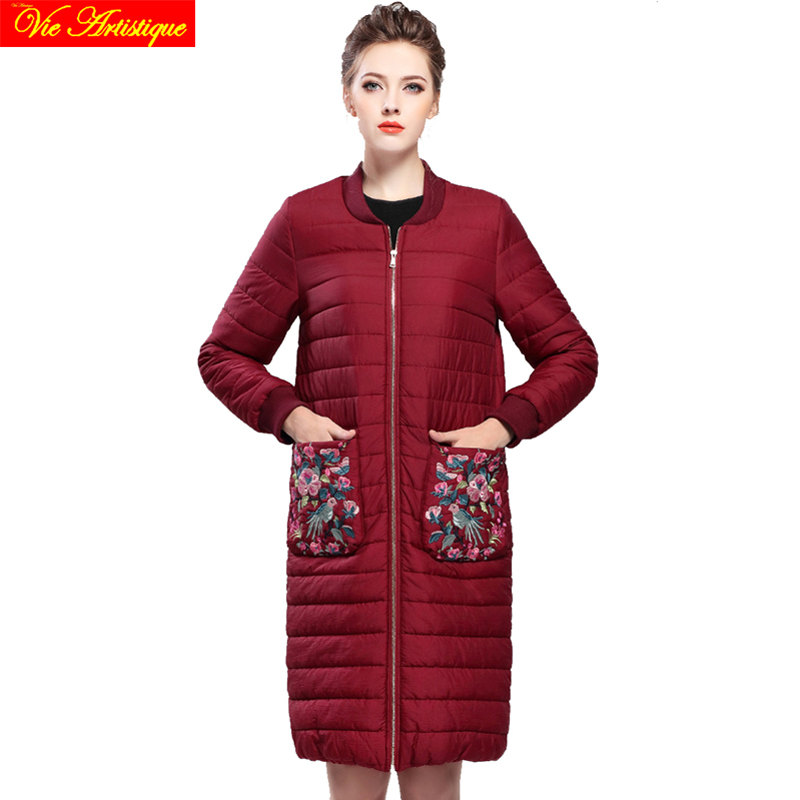 Embroidery floral winter casual jacket woman parka fem me female long coats jackets big  ...