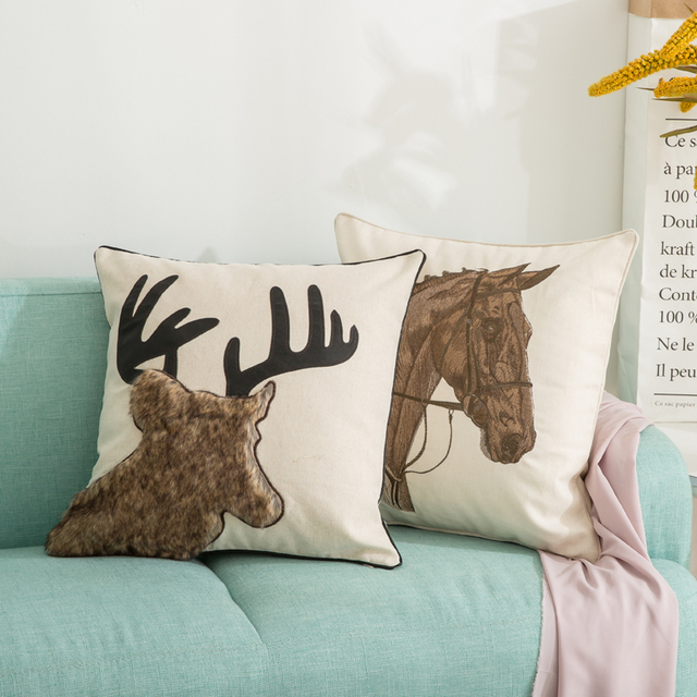 American Cushion Cover Plush Deer Horse Throw Pillows For Sofa Home Delectable Pillow Case Covers For Throw Pillows