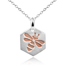 DORMITH 925 sterling silver necklace plain Bee in circle pendant necklace silk matt Pink Gold plated for women fashion jewelry