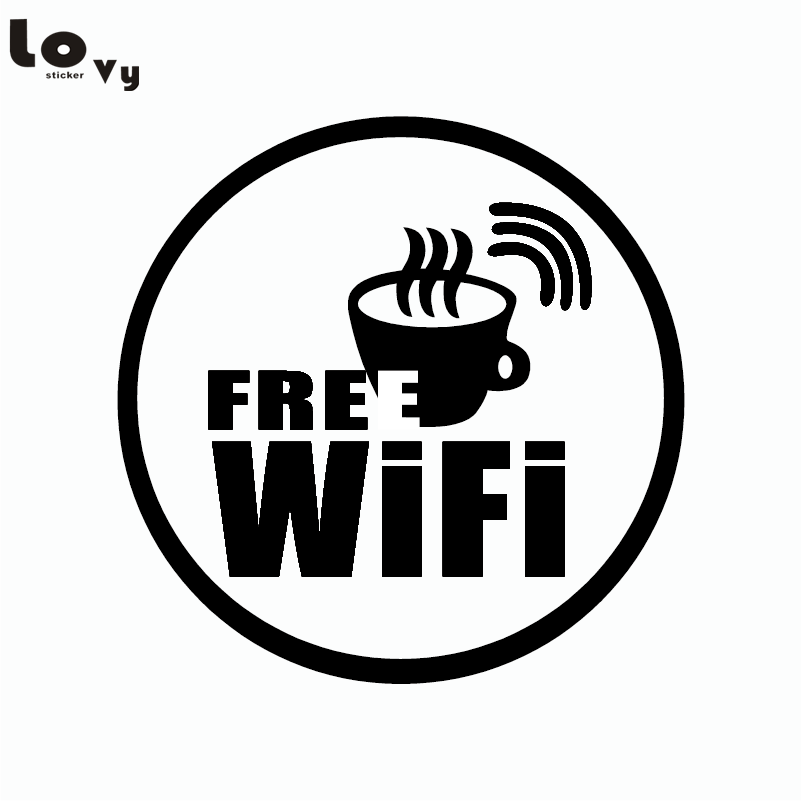 Wifi Logo Wall Sticker For Free Wireless Internet Coffee