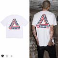 2017 New Ultimo Palace Round Neck T-Shirt Men 100% Cotton Printed Triangle Palace T Shirt Men Summer Top Tees Male Black/White