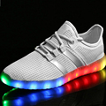 2017Unisex couple USB Charging Canvas Breathable Luminous LED Shoes Flashing Casual Light up Shoes for Adult