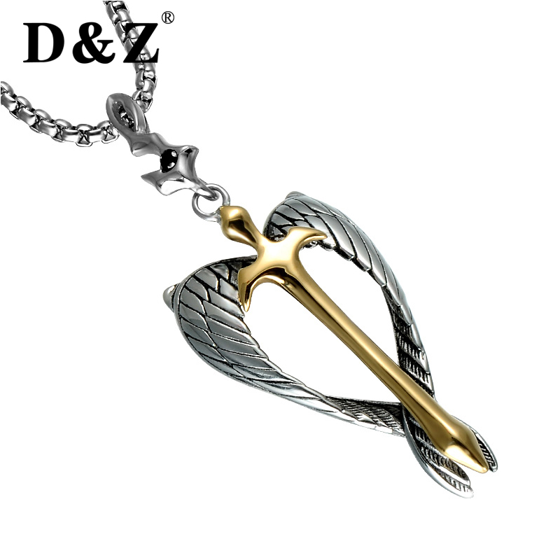D & Z Religiöse Gold Kreuz Anhänger Halskette Edelstahl Silber Engel Flügel Seele Kruzifix Halsketten für Christian Schmuck
