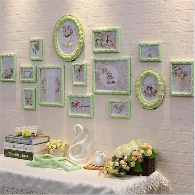 wood frame set 14 pcs classic oval photo frame wall decoration ellipse picture frame white wall - White Wall Frames