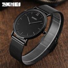 Ultra fino relógios masculinos de quartzo de aço inoxidável skmei marca relógio homem à prova dwaterproof água moda casual relógios de pulso