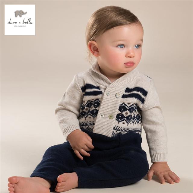 DB3951 dave bella otoño de los bebés gris jacquard mameluco infantil de una sola pieza