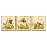 3PCS Dragonfly Butterfly Small Grass Wildflowers Wall Vintage Oil Painting Prints On Canvas Landscape Pictures Home