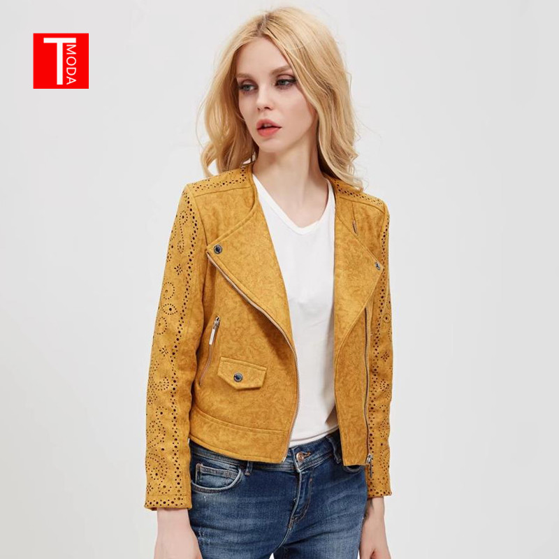 2018 Women Autumn Winter   Suede   Faux   Leather   Jackets Lady Fashion Hollow Out Motorcycle Coat Biker Yellow Lace Outerwear