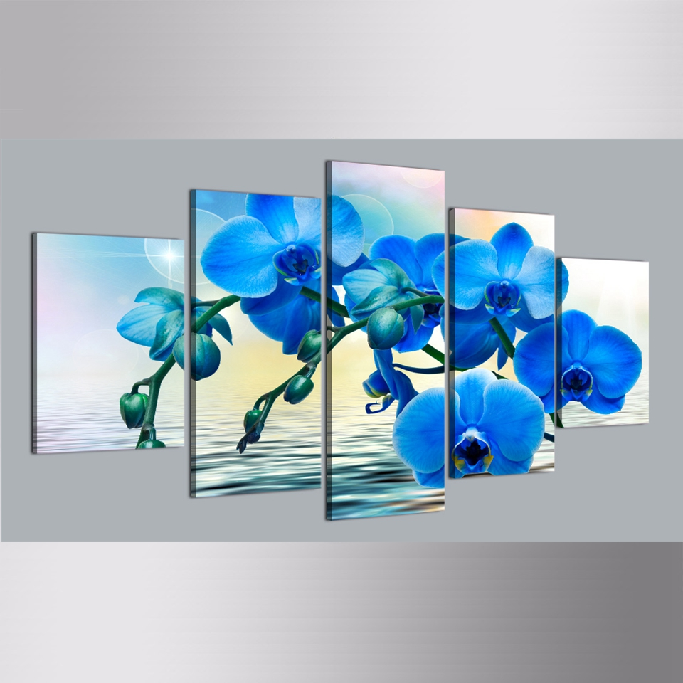 Modern Canvas Pictures Hd Printed Wall Art Framework 5 Pieces Blue