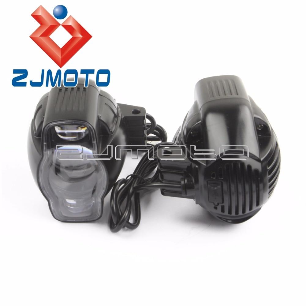 20W USB Charge Motorcycle LED Fog Lights Driving Headlights Projector Motorbike Fog Lights Spot Lights For Harley Chopper Bobber light for - title=