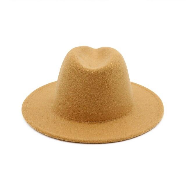 Chapeau en feutre pour femmes   Automne et hiver 2019, chapeaux à gros bord pour femmes, Style britannique Vintage église chapeaux dame à bord plat
