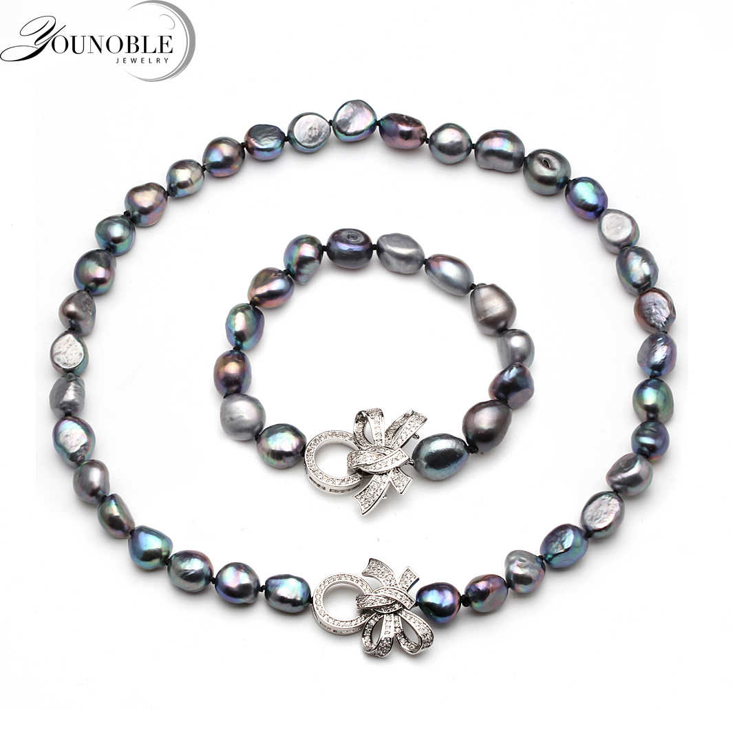 Beautiful real natural baroque necklace bracelet sets jewlery women,10-11mm big size freshwater pearl sets