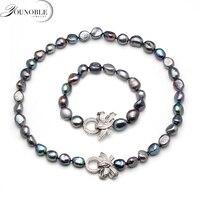 Красивые настоящие натуральные барочное ожерелье браслет наборы jewlery женские, 10-11 мм большой размер пресноводный жемчуг наборы