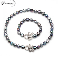 Beautiful real natural baroque necklace bracelet sets jewlery women,10 11mm big size freshwater pearl sets