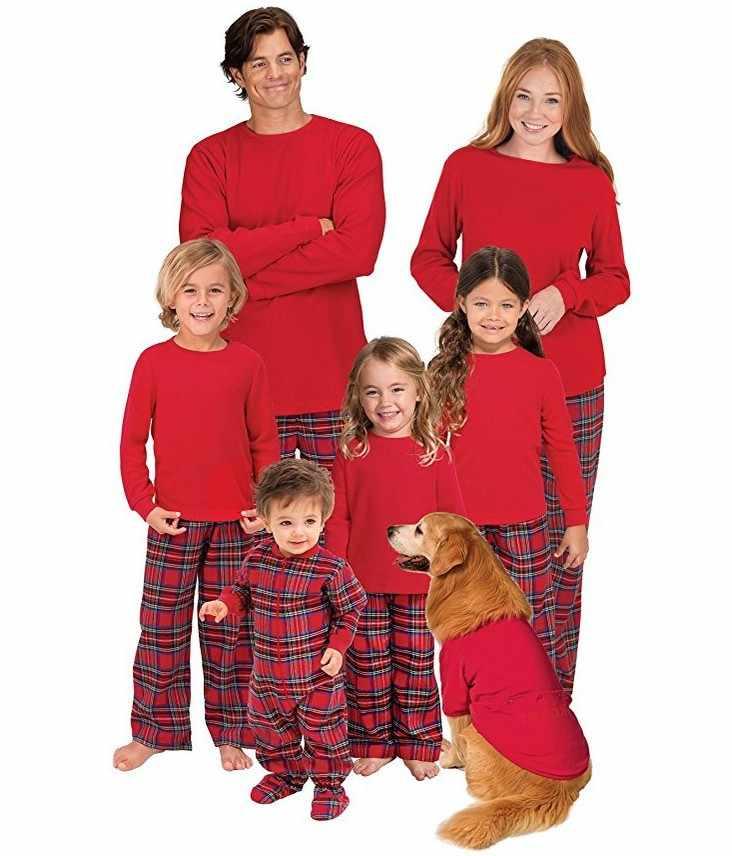 625169203c 2018 New Winter Family Matching Christmas Pajamas Set Mother Father Kids Set  Red Plaid Sleepwear Nightwear