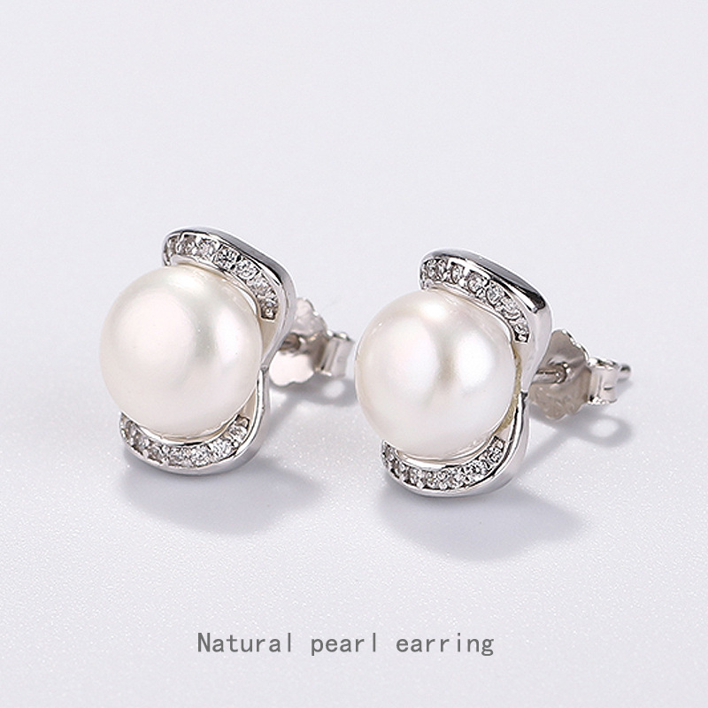 925 freshwater pearls earrings Europe and the United States air micro silver inlay zircon earrings