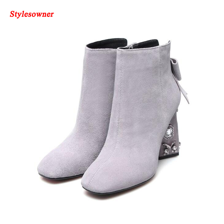 Stylesowner Solid Color Rhinestone Square Heel Ankle Boots Square Toe Back Bowtie-Knot Decoration Short Boots Large Size 34-43EU цены онлайн