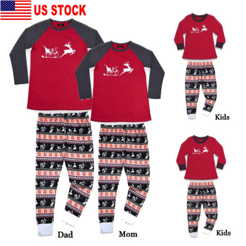 Family Match Christmas Reindeer Pajamas Kids Adult Cotton Sleepwear Nightwear