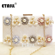 ETAILL Pearl Flower Quilted Clutch Bags with Golden Chain Plaid Evening Bag Designer Diamond Lattice Shoulder Bag High Quality