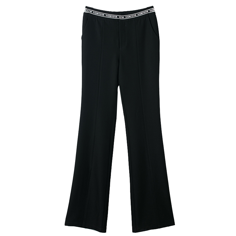 Slim Taille Avant Split Pantalon 2018 Mode Printemps Femmes Femme Bureau Noir Automne Jambe Haute Robe Flare De Dame nTx0R1zqS