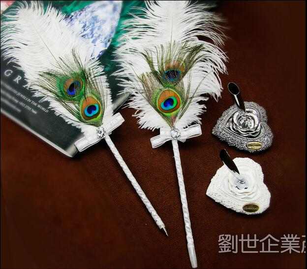 Ostrich Feather Ballpoint Pen Wedding Signature Pea Not Include The Holder 42cm Long Free Shipping In Pens From Office