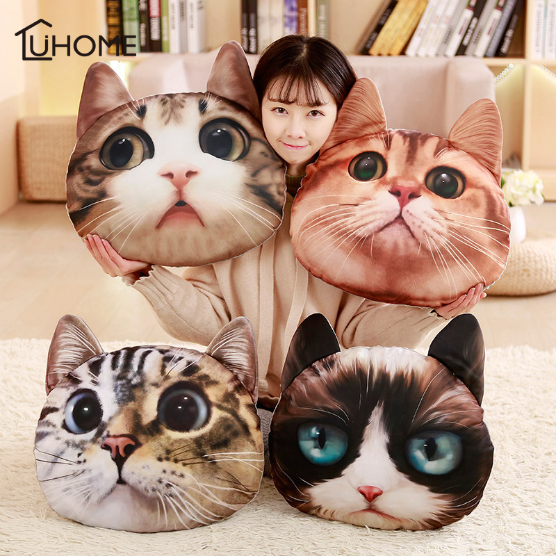 36cm*36cm 3D Cat Shape Plush Pillow Car Cushion Creative Cat Nap Pillow Cute Seat Cushion Home Decor Funny Gifts For Kids