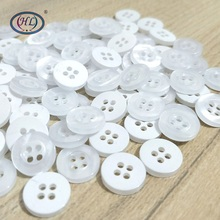 HL 100/300PCS  11MM 4 Holes White Plastic Buttons Garment Sewing Accessories Shirt DIY Crafts