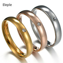 Eleple Fashion Stainless Steel Rings for Women Simple Fine Crystal Wedding Engagement Anniversary Party Gifts Ring Jewelry S-R46(China)