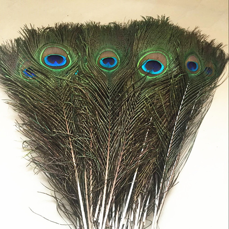 Wholesale 50pcs 16-18inch 40-45 cm Natural Peacock Tail Feathers beautiful natural peacock feathers eyes for DIY clothes image