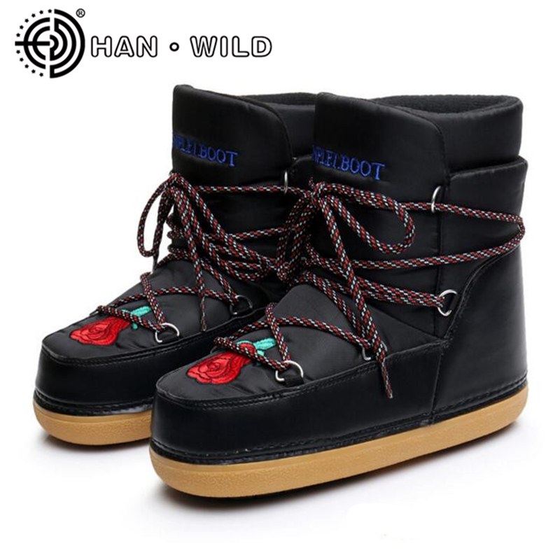 Quality Shoes Women Space Boots Rose Embroidery Ankle Boots Women Lace Up Snow Boots Warm Skiing Boots Casual Ladies Shoes ...