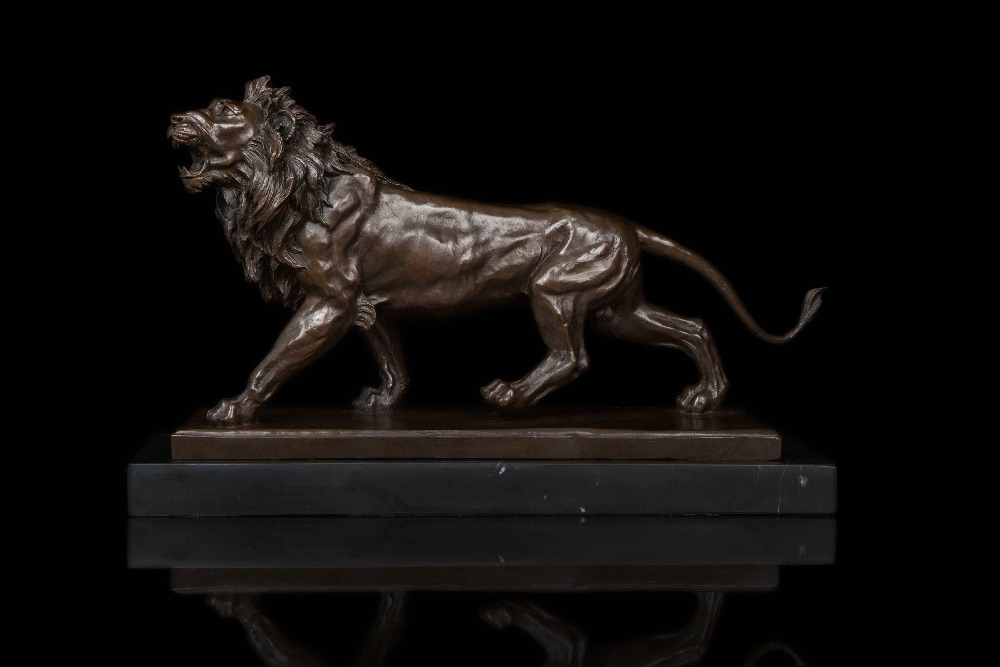 Bronze Lion Sculpture Formidable Statue Signed By Barye