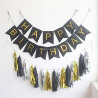 Black White Green Pink Birthday Banner Flag With Hanging Tassel Garland And Gold Letters Bunting For