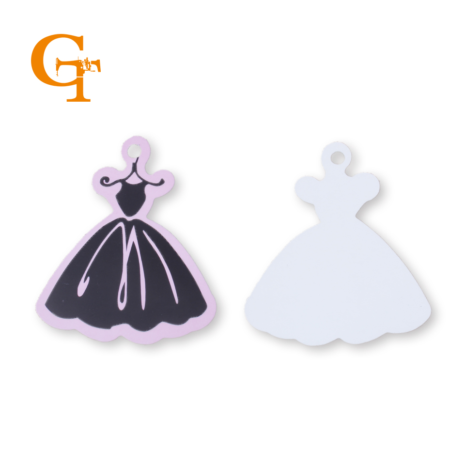 stock pink cute dress paper hang tag garment clothing boutique swing
