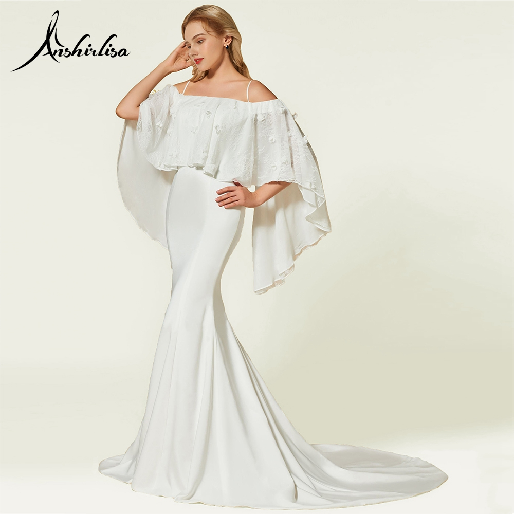 Anshirlisa femmes sirène ivoire Court Train formel soirée Satin robe longue avec Cape élégante robe de soirée fleur rubans robe de bal