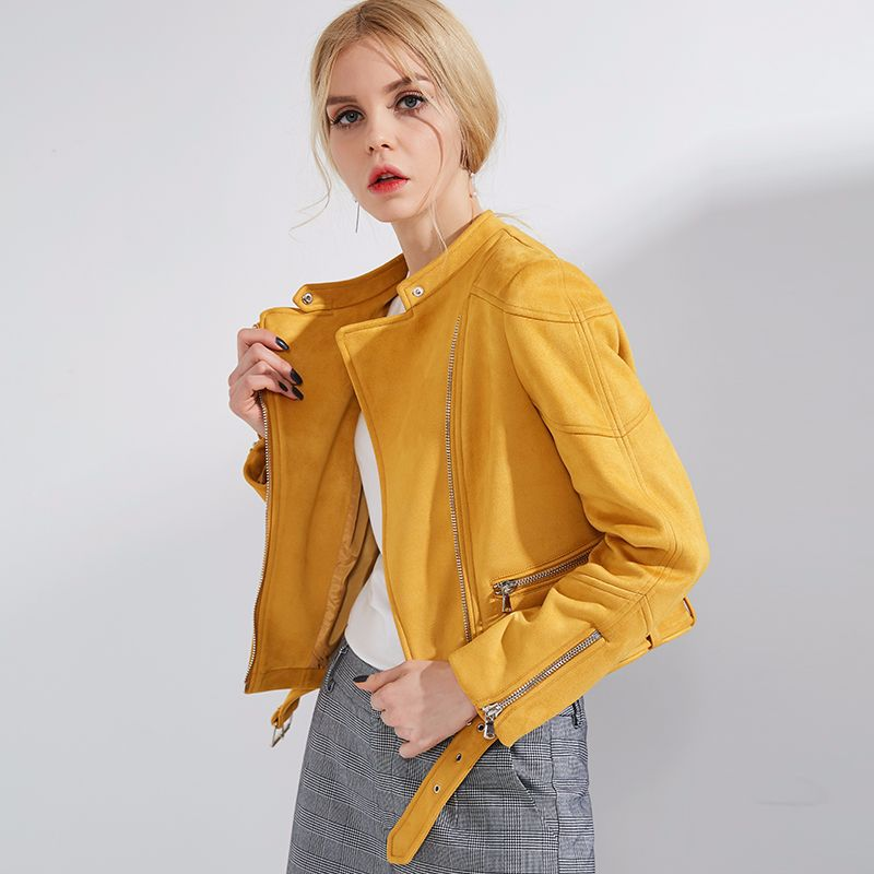 Suede Leather Bomber Jacket Women Spring Autumn Pink Yellow Beige