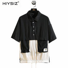 HIYSIZ NEW T-Shirt Men 2019 Summer Casual Fashion Trend Streetwear short sleeve lapel loose trend harajuku Tshirt ST437