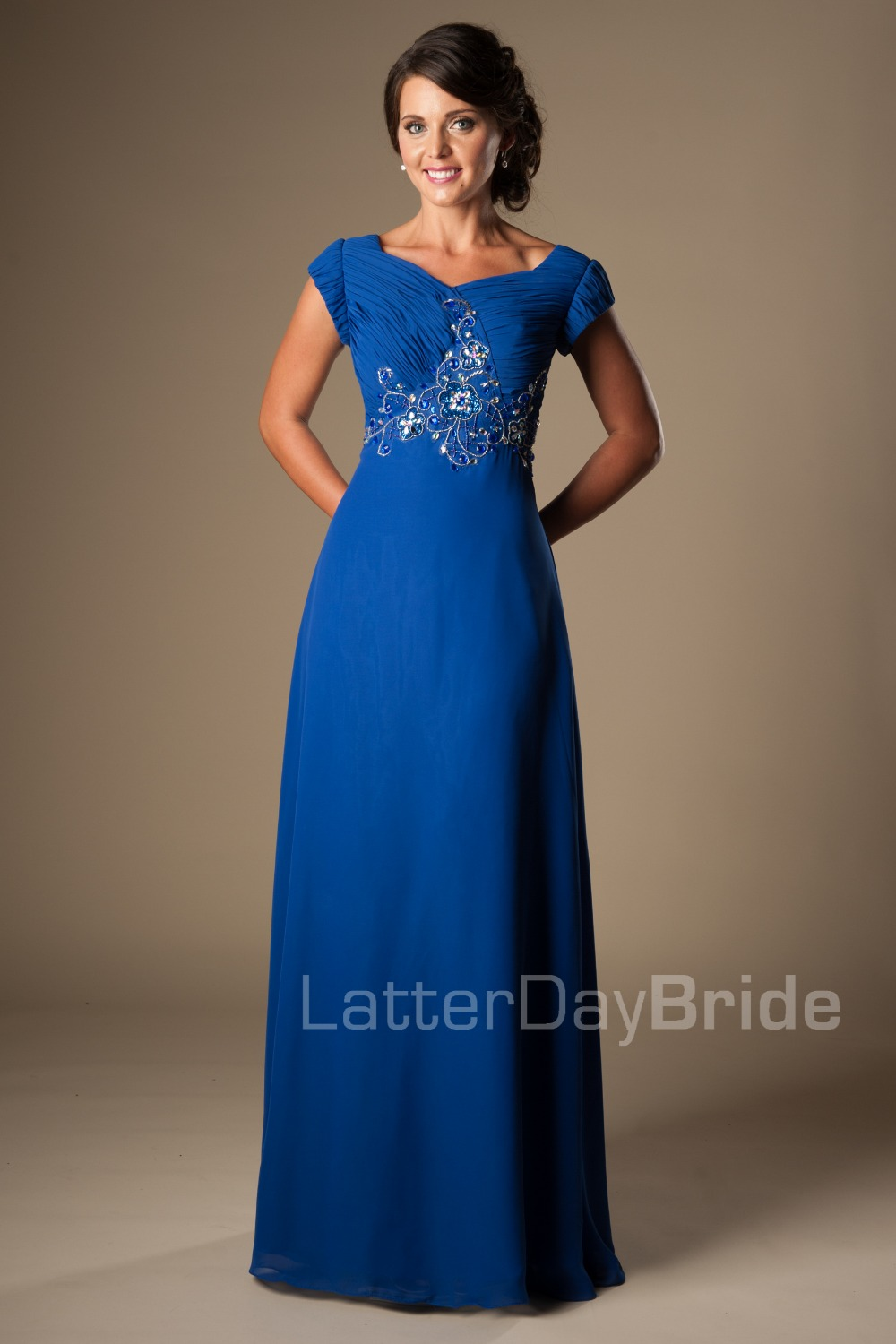 Royal blue long formal floor length modest bridesmaid for Sparkly wedding dresses with sleeves