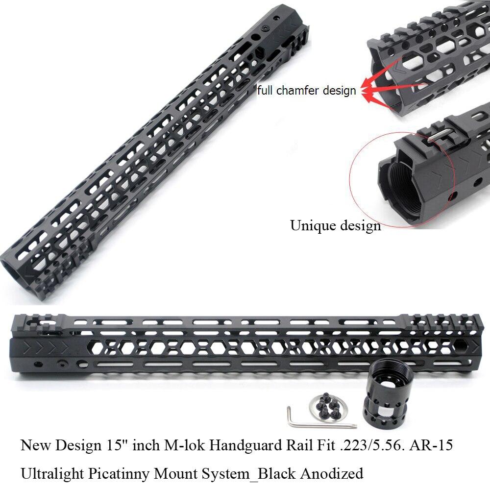 TriRock Ultra-Léger Nouveau Design 15 ''pouces M-lok Handguard Rail Free Float Picatinny Mount Fit System. 223/5. 56_Black Anodisé