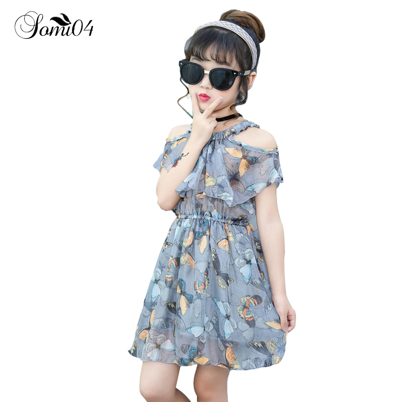 Kids 2-13 Years Old Children's New Girl Dress 2018 Summer Strapless Butterfly Chiffon Dresses Little Girls Fashion Style Clothes tops dress girls dresses girl clothes autumn style fashion cowboy vest 2017 new 2 pieces set