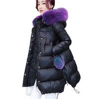 Nueva zorro grande Pieles de animales invierno grueso collar Abrigos de plumas Womens tamaño 2017 palabra manto abrigo largo negro cordón femenino parkas 262