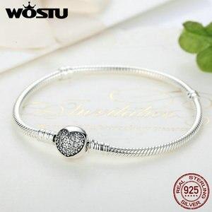 Image 3 - Luxe 100% 925 argent Sterling étincelant coeur serpent chaîne ajustement Original bracelet à breloques & bracelet pour les femmes bijoux fins XCHS916
