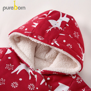 Image 4 - Pureborn Newborn Unisex Baby Romper Fleece Lined Hooded Baby Girl Clothing Baby Boy Winter Jumpsuit Outfit Christmas Costumes